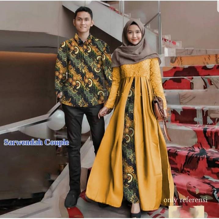 De20 Muslim Couple Batik Mariam Wenda 4warna Ds Pakaian Batik Kondangan Baju Pesta Couple