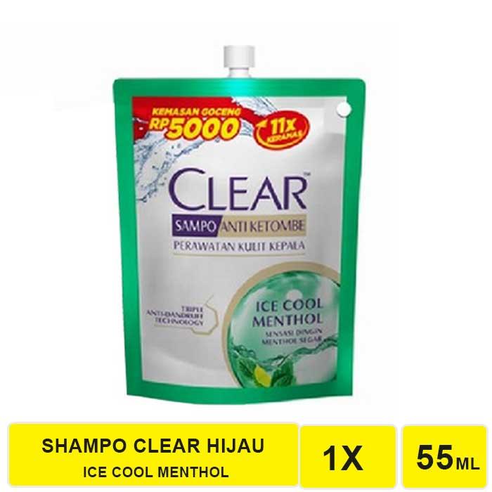 SHAMPO CLEAR COMPLETE SOFT CARE DAN ICE COOL MENTHOL 55 ML-CLEAR HIJAU 55 ML