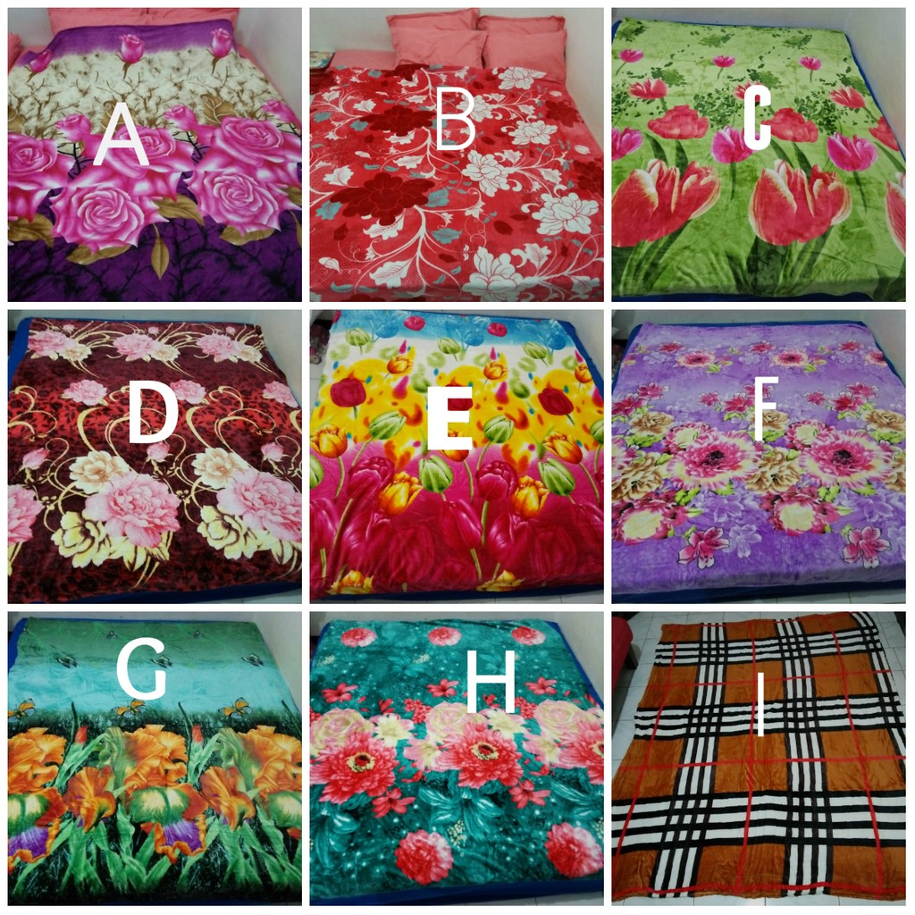 Selimut Bulu Super Tebal 950 Gram Uk 180x200 Shopee Indonesia Dewasa White Flower