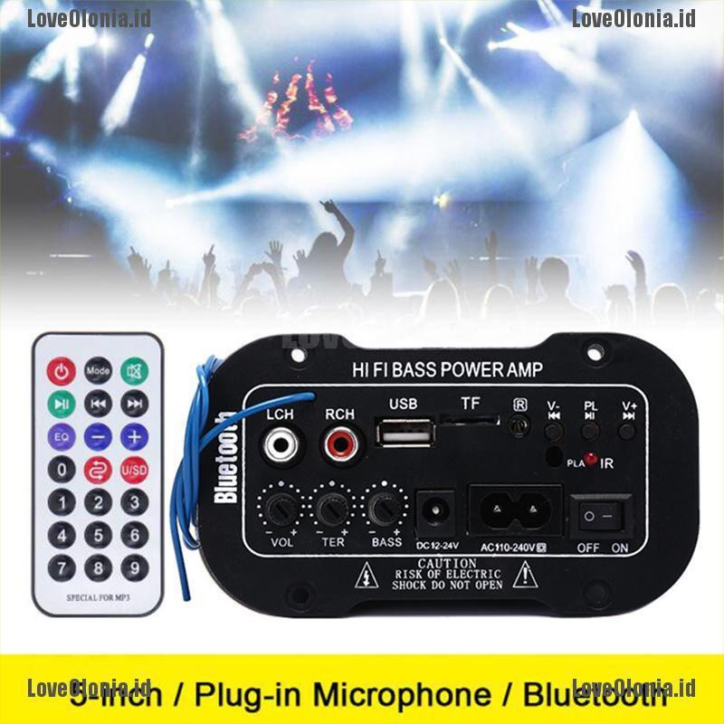 Car Bluetooth Bass HiFi Power AMP Stereo Digital Amplifier USB TF Remote Control