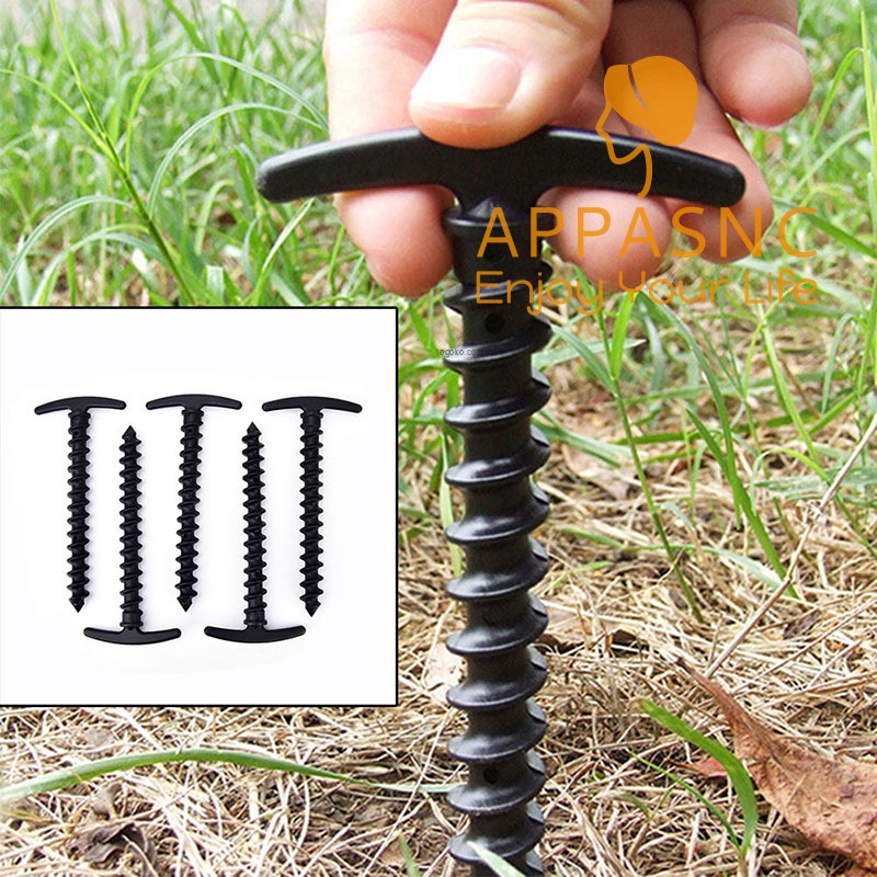 5x Plastic Screw Spiral Tent Peg Stakes Nail Outdoor Camping Awning Trip Kit