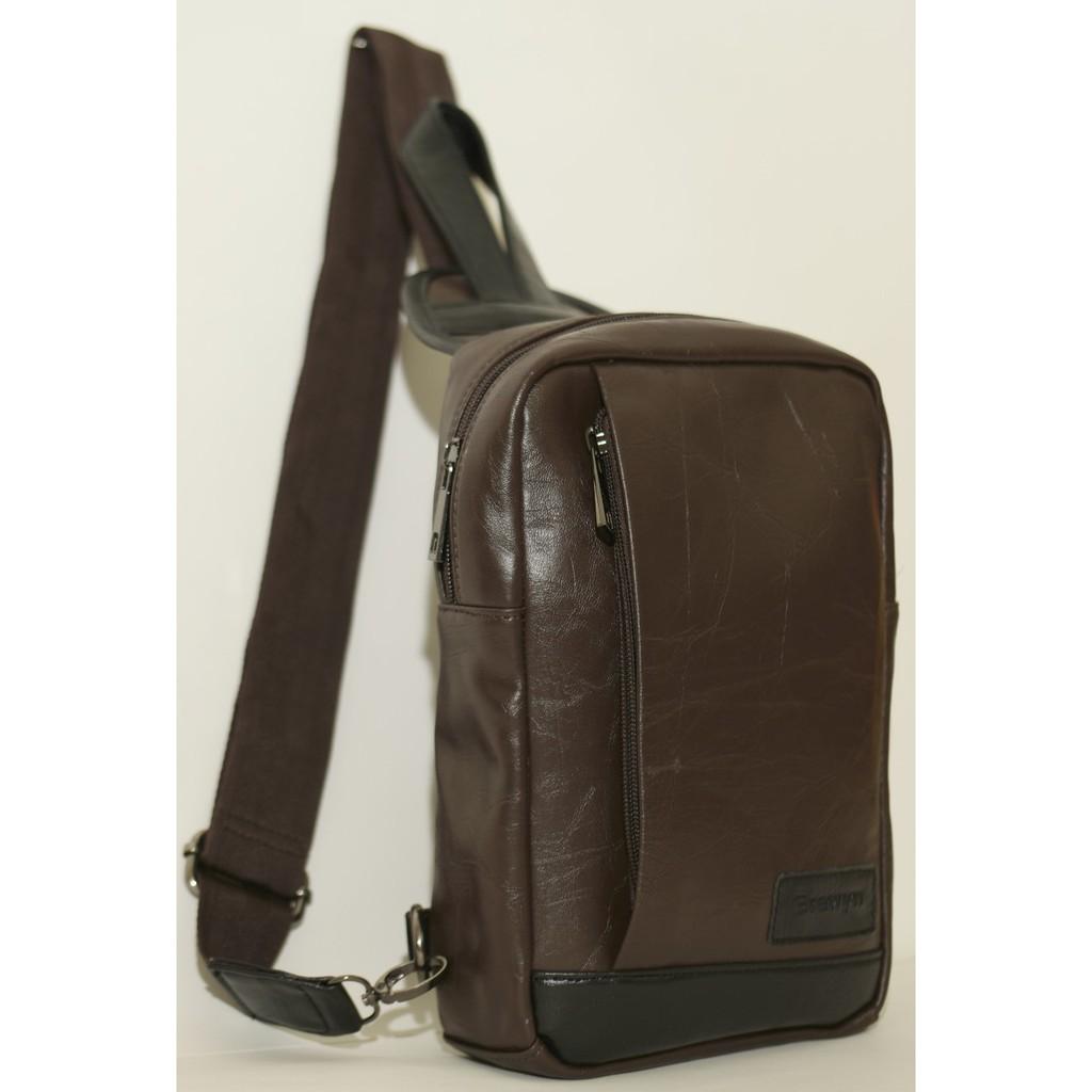 Brewyn Tas Messenger Canvas Polyester Pria Coklat Model Baru Selempang Bracini Marciano Pu Leather Sling Bag Jack