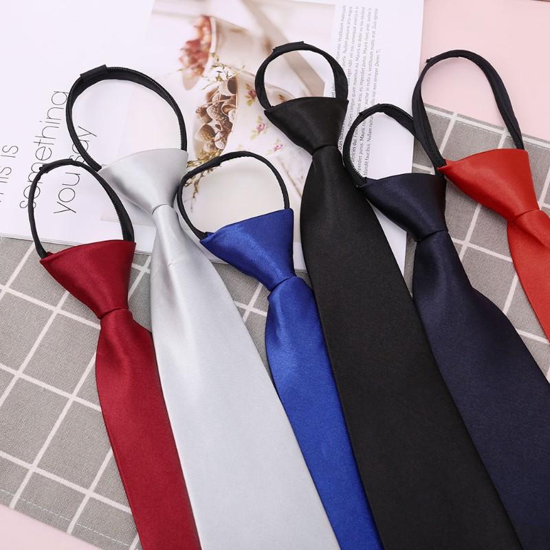Boys Zipper Pre-tied Solid Neckties 6Pcs Solid Adjustable Ties Kids Formal Pretied Neck Ties for Boys Wedding
