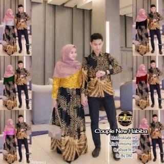 Batik Couple New Habiba Kebaya Gaya Gamis IPNU IPPNU Kemeja Panjang Pria Sogan Lawasan