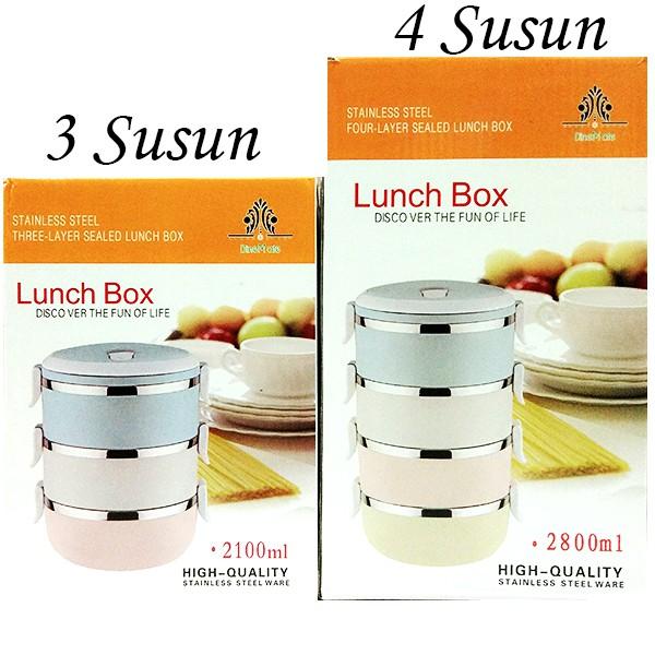 StarHome Rantang 3 Susun - Kotak Makan Stainless Steel - Lunch Box 2100 ml Glossy | Shopee Indonesia