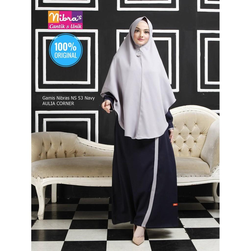 Baju Muslim Gamis Terbaru Nibras Ns 53 Navy Original Baju Gamis Nenek Shopee Indonesia