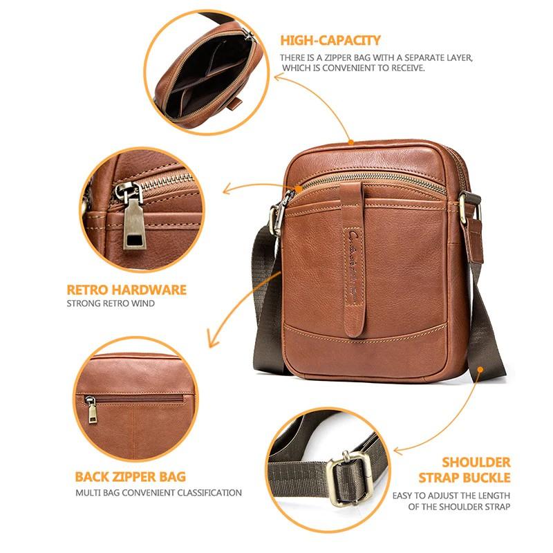 Soft Genuine Leather Street style Men/'s Zipper Buckle Chest Bag Crossbody Bag