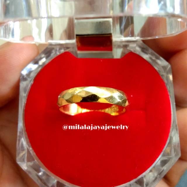 Cincin emas asli kadar 999 24k 99,9% model polos kristal crystal