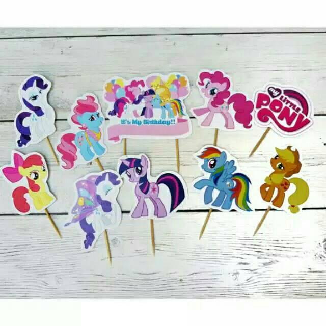 Topper Toper Hiasan Tusukan Kue Ulang Tahun Cake Happy Birthday Karakter Kuda Poni My Little Pony
