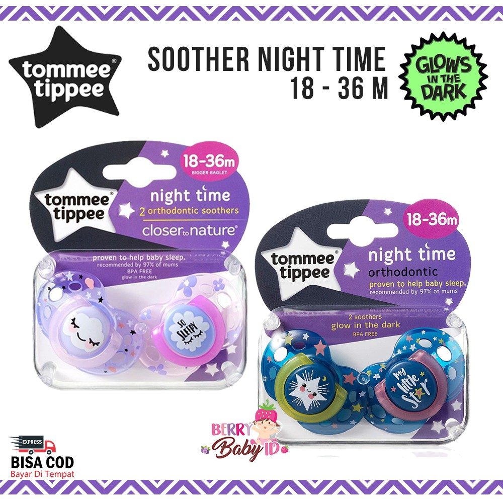 0 to 2 Months Pack of 2 Tommee Tippee New-Born Night Soother