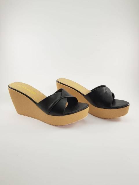 81a8e582b69 D001 Women Wedges Sandal 7cm - Sandal Wanita Wedges 7 Cm HITAM PEACH TAN  CREAM CAMEL