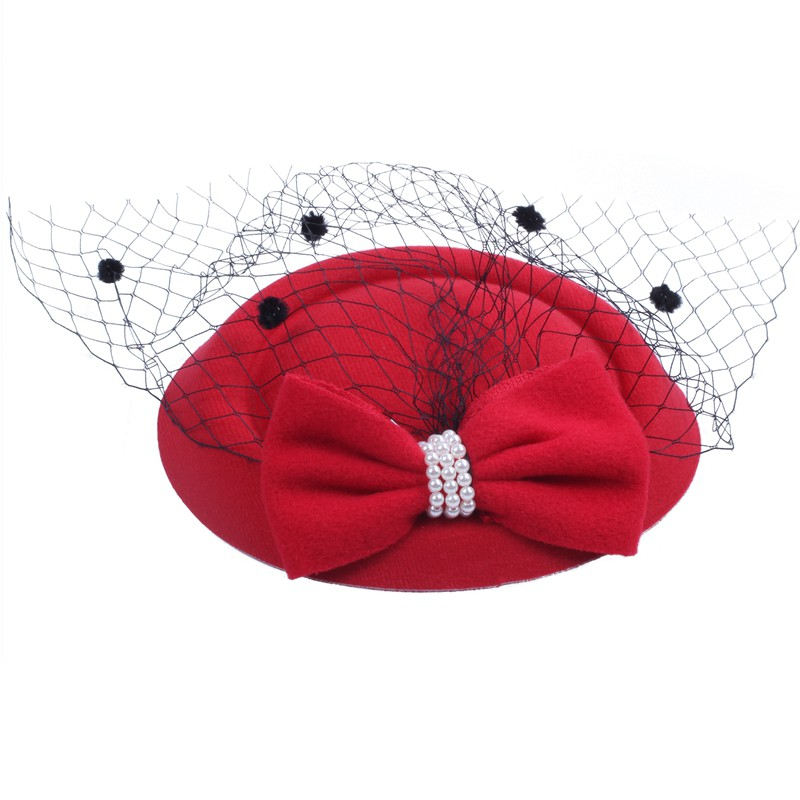 Women/'s Fascinators Hat Pillbox Hat Cocktail Party Hat with Dot Veil Bowknot ...