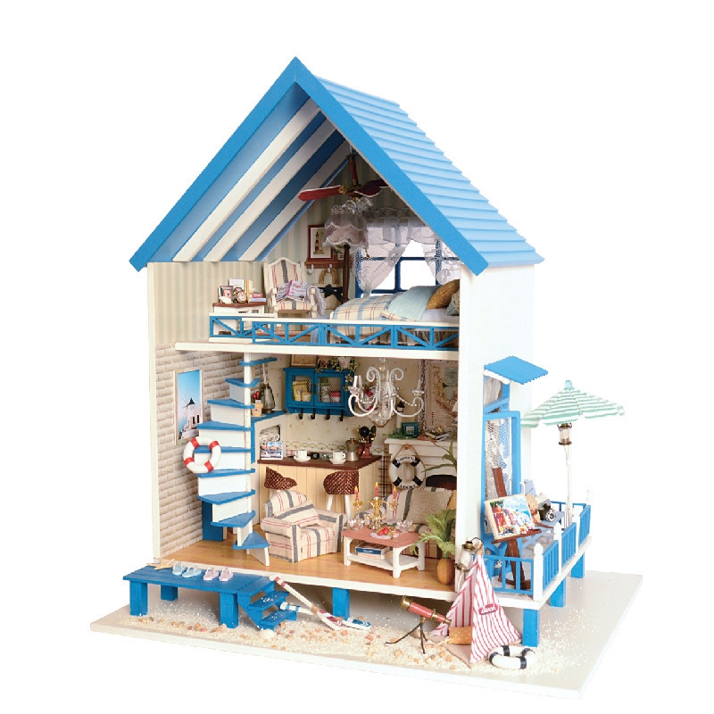 Diy House Smart House Assembled Model Toys Creative Handmade Wooden Gifts Shopee Indonesia