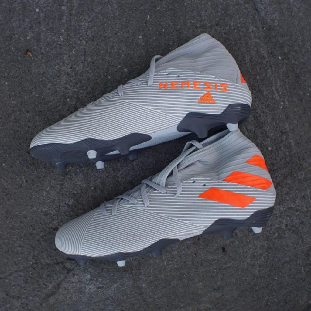 Sepatu Bola Adidas Nemeziz 19 3 Fg Grey Solar Orange Ef8287