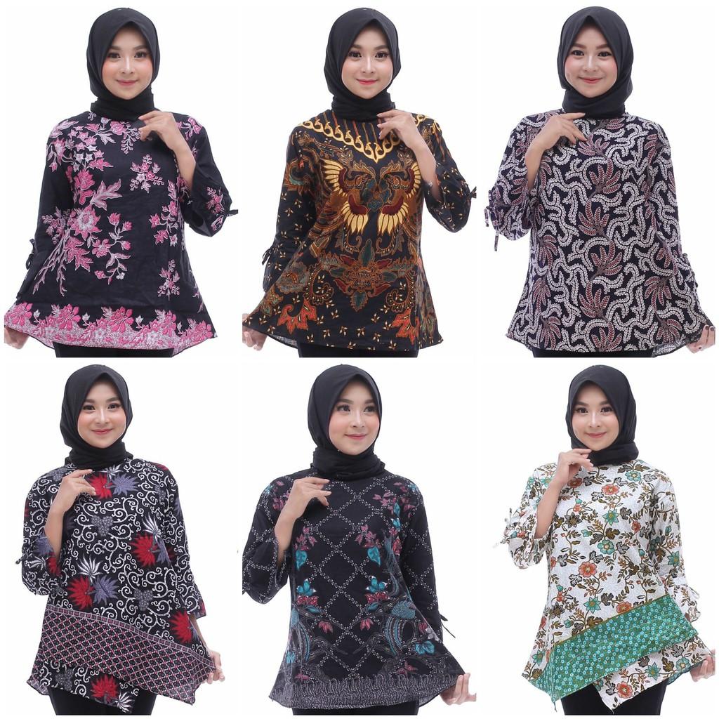 Atasan Batik Blouse Kerja Pegawai Guru Karyawan Wanita Modern / Baju Batik Sekolah Kuliah Wanita