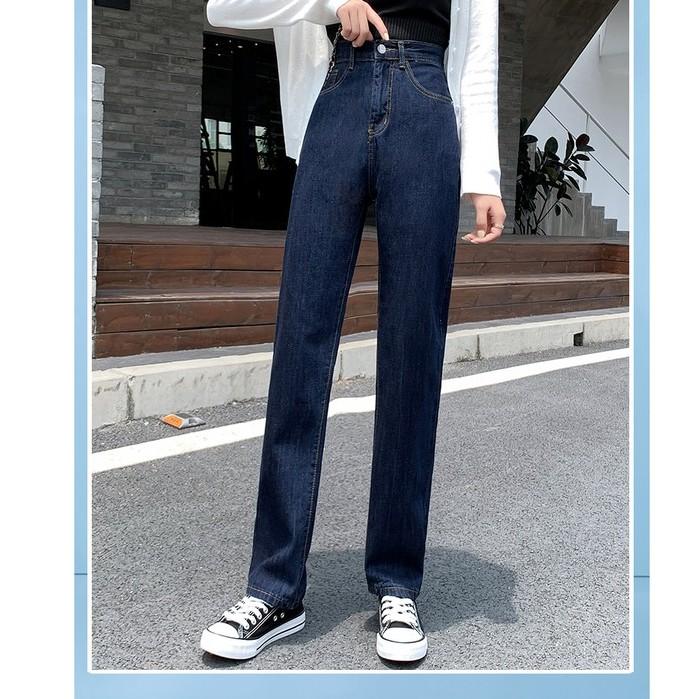 Jeans Highwaist Navy Blue Import