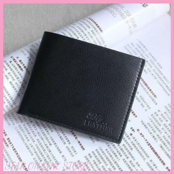 Dompet Lipat Pria Penyimpanan Kartu Kredit+Uang+Karet Elastis Bahan Kulit PU Warna Hitam