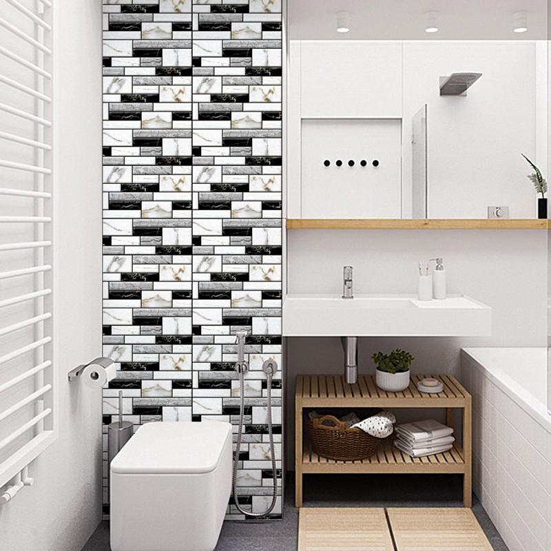 Peel And Stick Tile Kitchen Back Splash Sticker Gray Brick Shopee Indonesia
