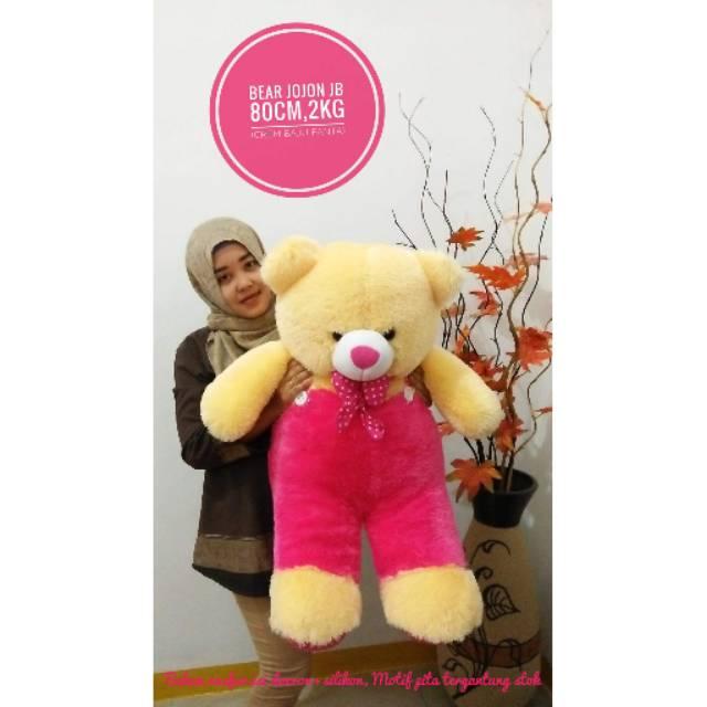 BONEKA BERUANG TEDDY BEAR JOJON JUMBO CREAM BAJU PINK FANTA UKIR NAMA FOTO   Shopee Indonesia