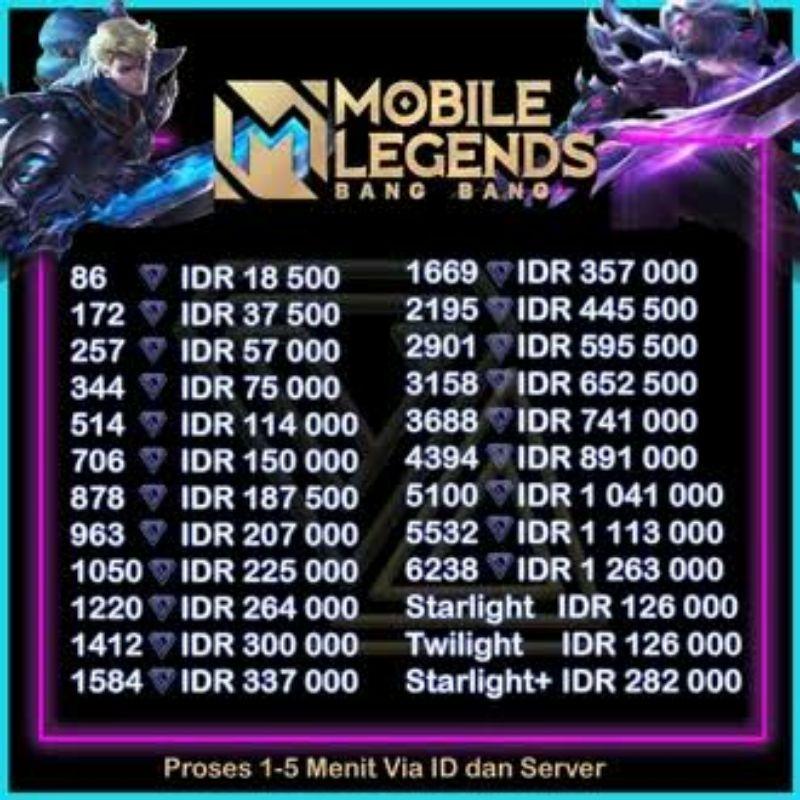 Top up diamond mobile legends/257 diamond mobile legends