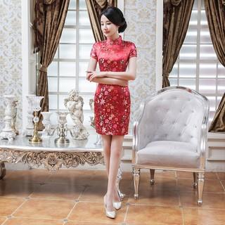 7567b99c7 Cheongsam Cina Ramping Berdiri Kerah Wanita Tradisional Bau Baju Gaun  Pendek   Shopee Indonesia