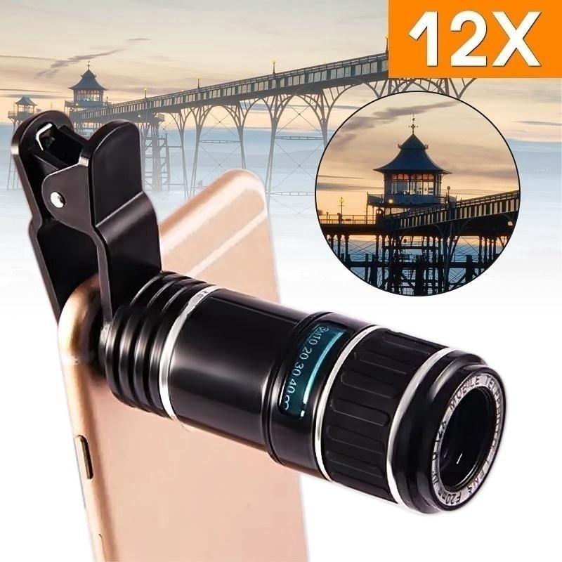 [Bayar Di Tempat]Clip-on 12x Optical Zoom HD Telescope Camera Lens For Universal M | Shopee Indonesia