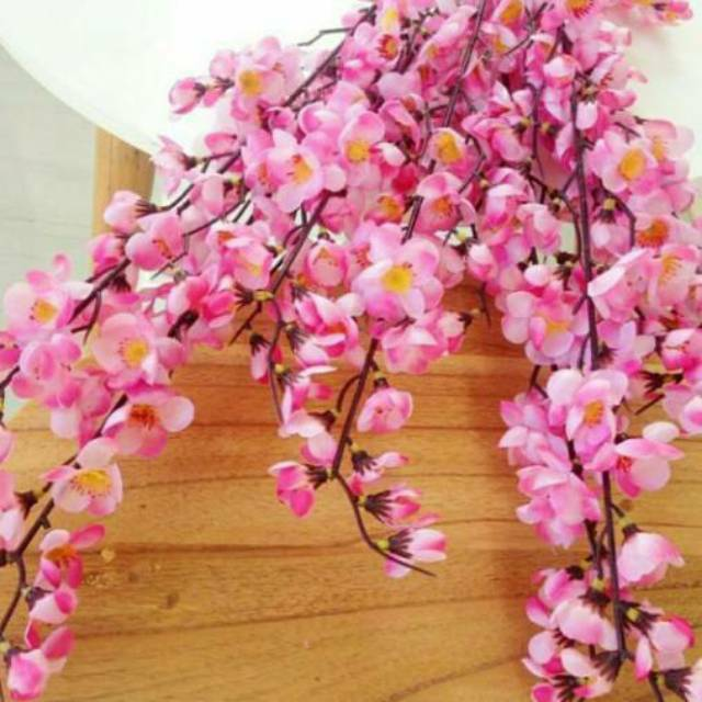 Bunga Sakura Sakura Plastik Kembang Sakura Sakura Artificial Bunga Artificial Shopee Indonesia