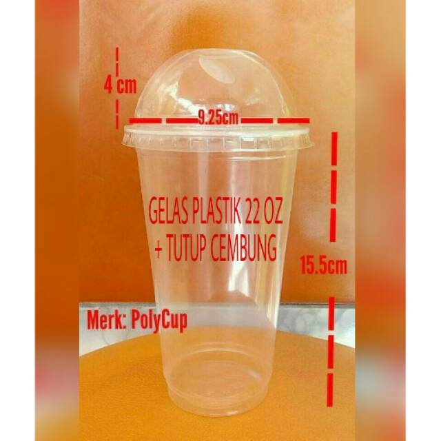 GELAS PLASTIK UKURAN 22 OZ+DOME LID/TUTUP CEMBUNG(ISI 25 PCS/PACK/ | Shopee Indonesia