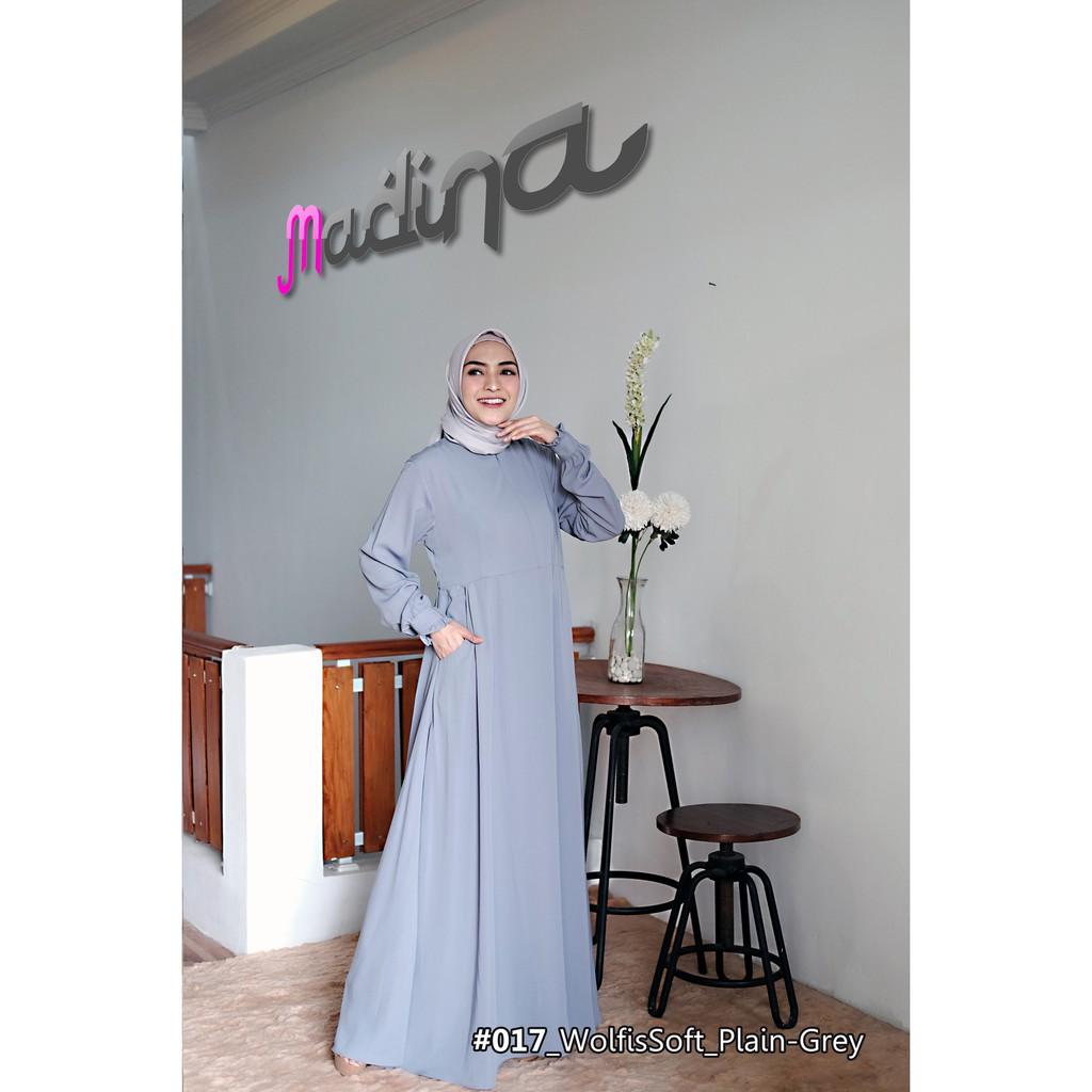 Gamis Dress Polos Cantik Minimalis MadinaFactory bahan Wolfis Soft Premium