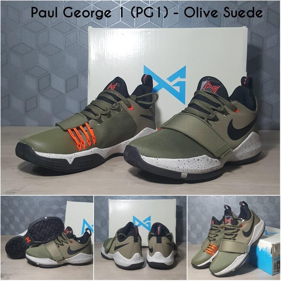 14815da07038 BEST DEAL FREE SHOES BAG Sepatu Basket Nike PG 1 Paul George 1 Olive Suede  PROMOSI