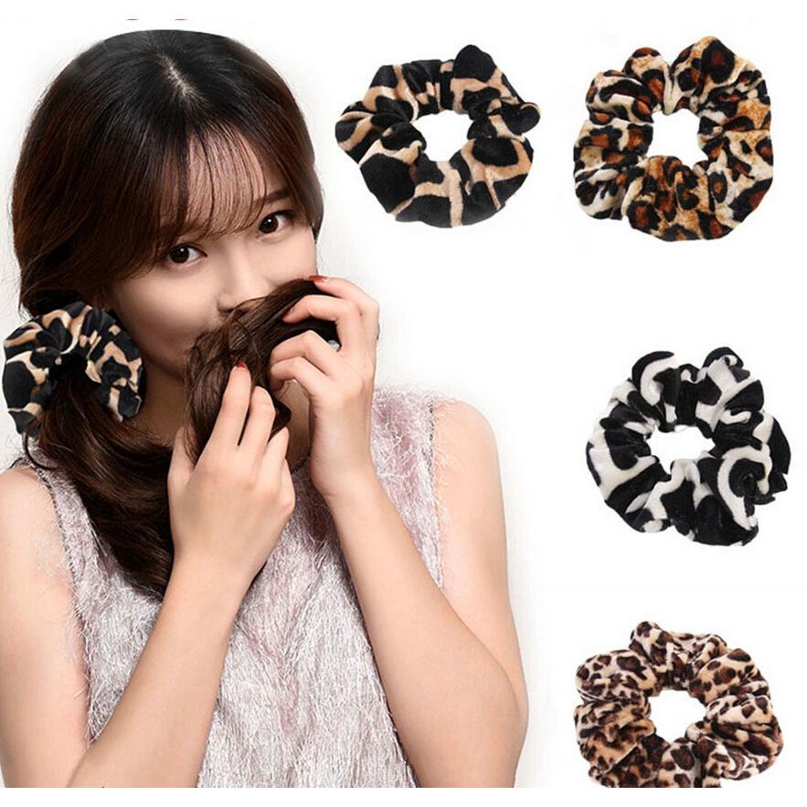Karet Rambut Ponytail Elastis Motif Print Leopard untuk Wanita thumbnail