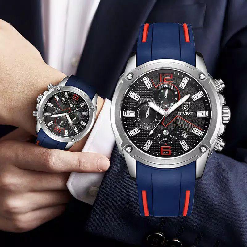 DIVEST ORIGINAL JAPAN - jam kuarsa pria mewah arloji olahraga