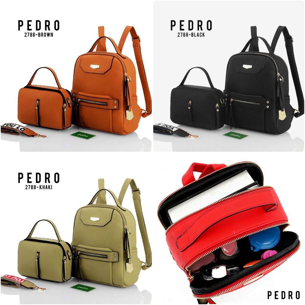 Backpack PEDRO 2788 Set 2in1 SEMIPREMIUM TAS WANITA TAS IMPORT BATAM  ad638af439