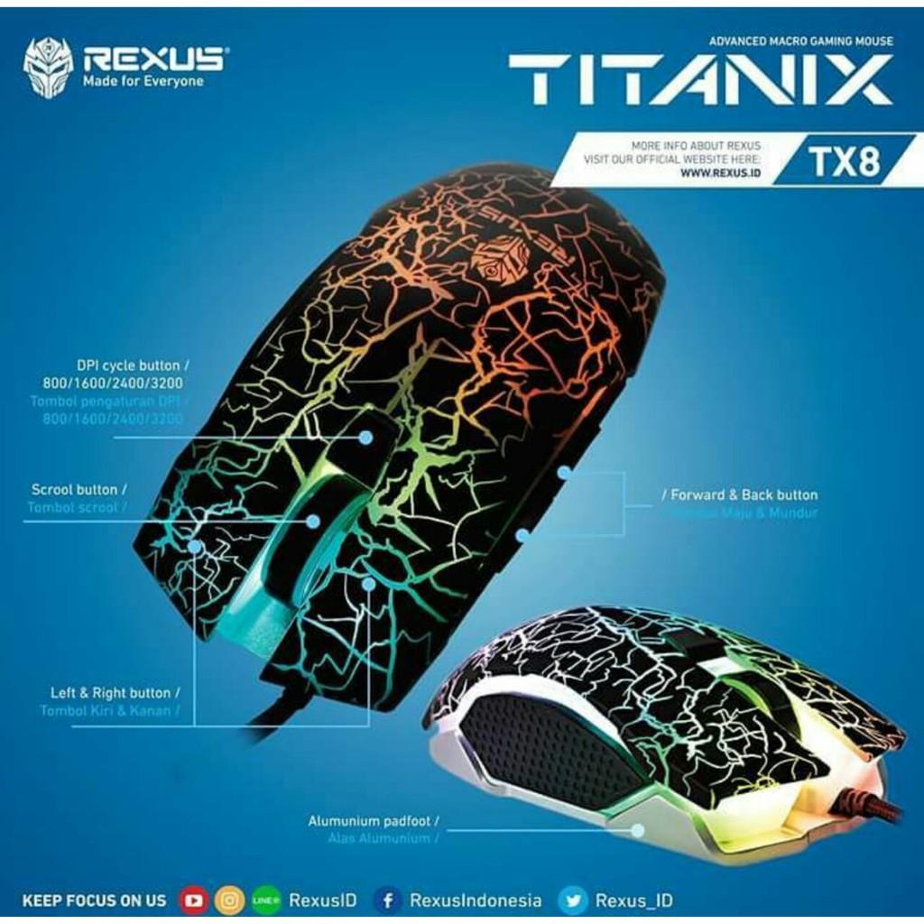 Rexus Mouse Gaming Macro Titanix Tx2 Original Shopee Indonesia Tx7