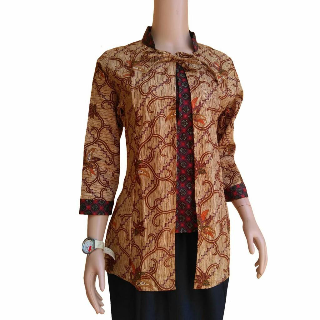 Blus Batik Atasan Wanita Baju Batik Wanita Seragam Kantor Guru Modern