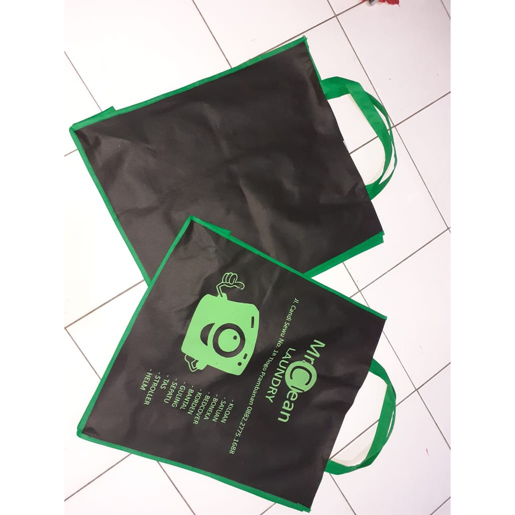 Tas Promosi Laundry Bag Safa Sablon Custom Logo Shopee Indonesia