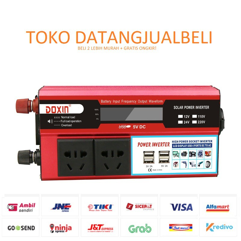 Doxin Car Power Inverter Dc 12v To Ac 220v 1500w With 4 Usb Port Mh1500 Red Shopee Indonesia
