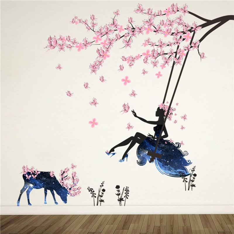 Romantic Flower Fairy Swing Wall Stickers For Kids Room Wall Decor Bedroom Living Room Children Girls Room Decal Poster Mural Shopee Indonesia
