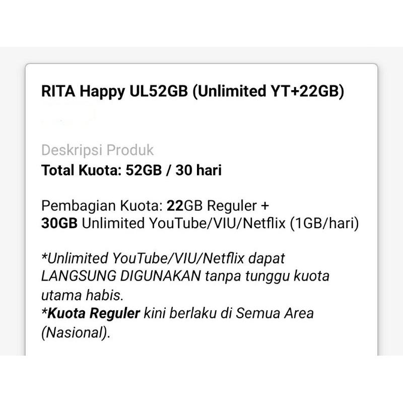 INJEK KUOTA TRI / ISI ULANG TRI 52GB Unlimited YouTube
