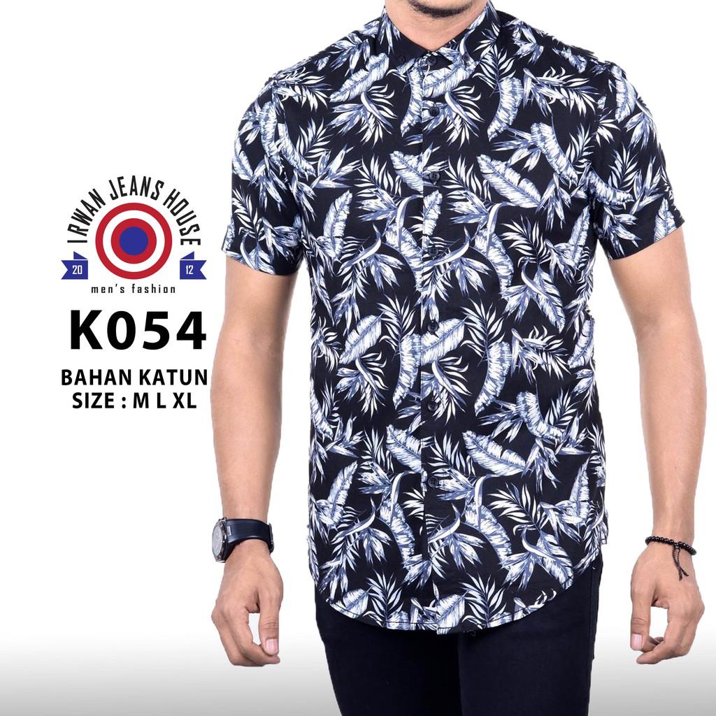 kemeja hem batik lengan pendek bahan katun warna merah BP345 | Shopee Indonesia