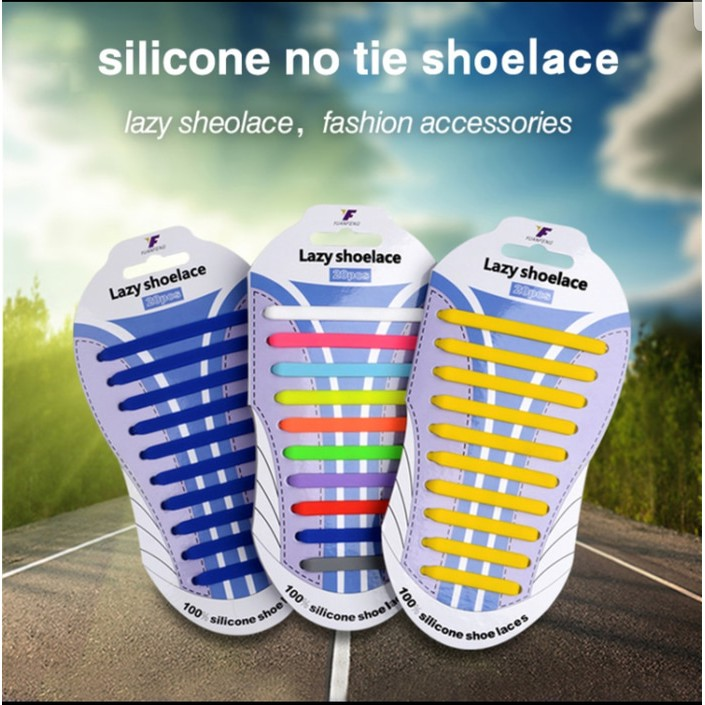 ... Elastis Shoe Lock Lace / Laces , No Tie Elastic Shoelaces With. Source · 20pcs Lazy Shoelace Silicone /Tali Sepatu Silikon ( ISI : 20PCS/PACK - TERMURAH