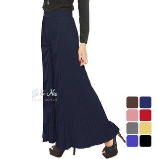 JO & NIC Pleated Long Skirts - Rok Panjang Lipit Fit to XL - Navy -
