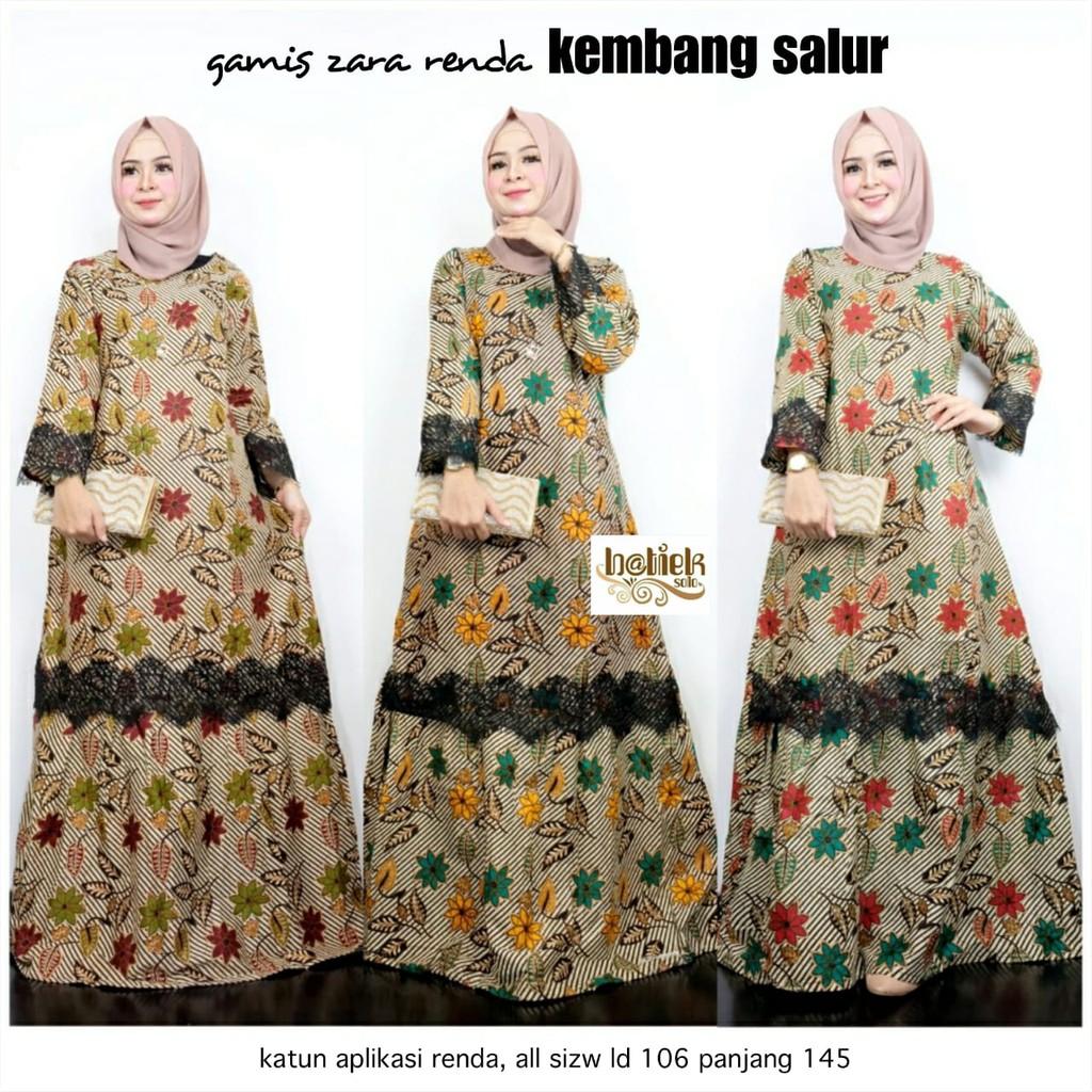 Gamis Batik Zara Renda Kembang Salur