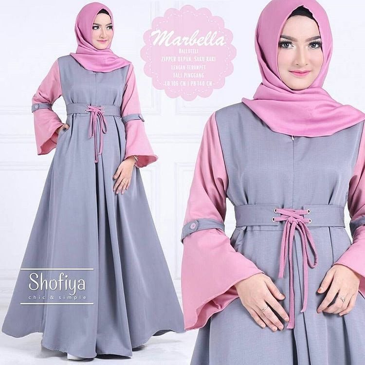 Baju Atasan Pakaian Wanita Gamis Hijabers Marbella Dress Grey 6b31c73117