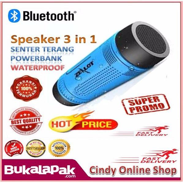 Unik IN 1 Zealot Bluetooth Speaker Waterproof Dengan Powerbank 4000 MAH Senter Diskon | Shopee Indonesia