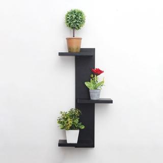 rak bunga hias dinding susun 3 dari kayu untuk hiasan