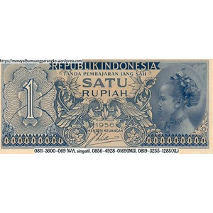 Barang Antik Uang Kuno Indonesia 1 Rupiah Tahun 1956 Gadis Jawa