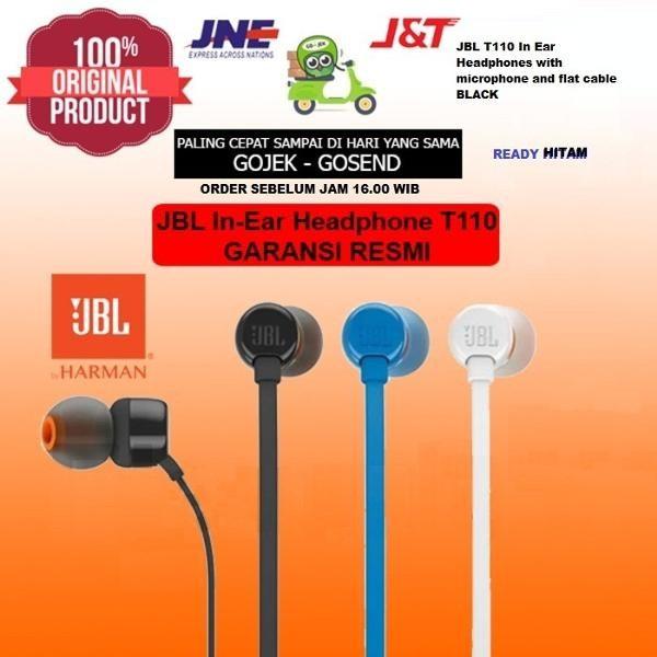 TERLARIS - JBL T110 IN EAR HEADPHONES WITH MICROPHONE & FLAT CABLE - BLACK - ORIG   Shopee Indonesia