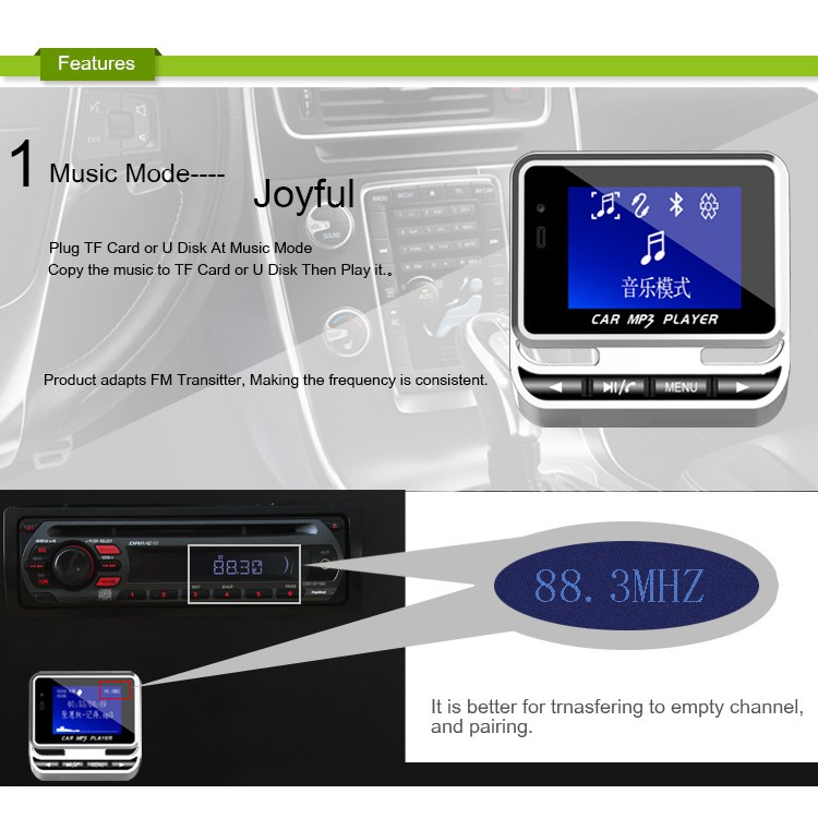 FM12B 1.4 Inch Screen Display USB Charging Wireless FM Transmitter Vehicle MP3 Q