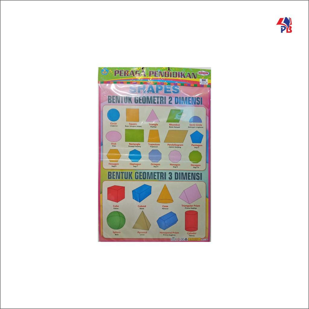 Poster Peraga Pendidikan Shapes Bentuk Geometri 2 Dimensi Bentuk Geometri 3 Dimensi Shopee Indonesia